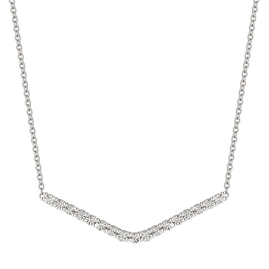 Womens 17 Inch 1/10 CT. T.W. Diamond Sterling Silver Link Necklace