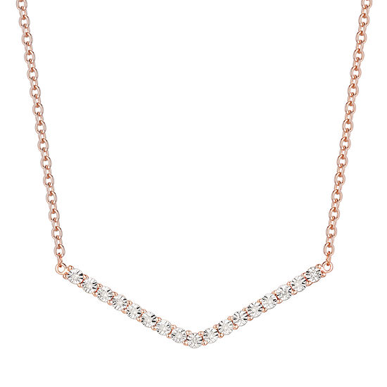 Womens 17 Inch 1/10 CT. T.W. Diamond Gold Over Silver Link Necklace