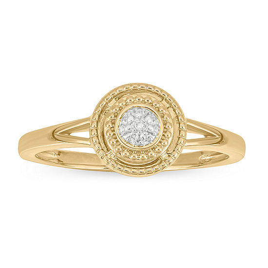 Womens Diamond Accent Genuine White Diamond 14K Gold Over Silver Cocktail Ring