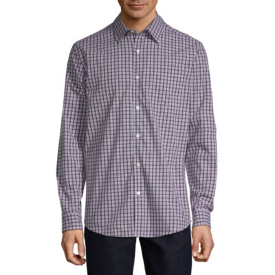 Claiborne 1 Pocket Mens Long Sleeve Plaid Button-Front Shirt