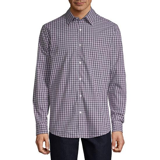 Claiborne 1 Pocket Mens Long Sleeve Plaid Button-Front Shirt