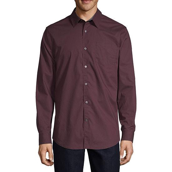 Claiborne 1 Pocket Mens Long Sleeve Plaid Button-Down Shirt