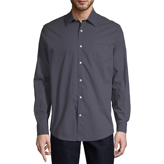 Claiborne Mens Long Sleeve Pin Dot Button-Front Shirt