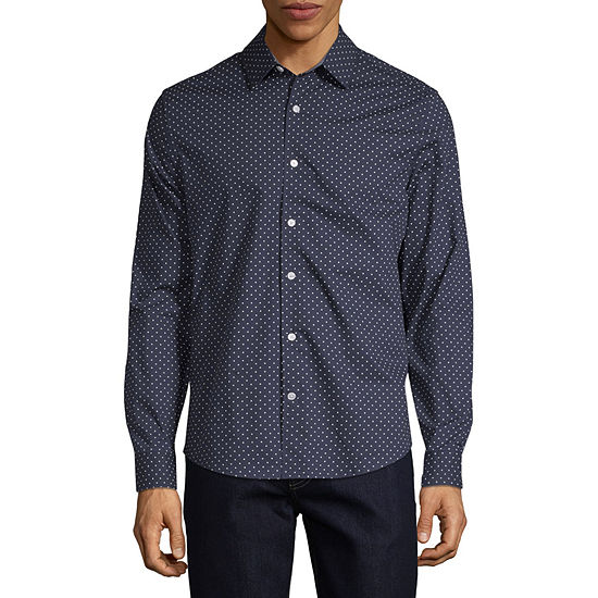Claiborne Mens Long Sleeve Gingham Button-Front Shirt