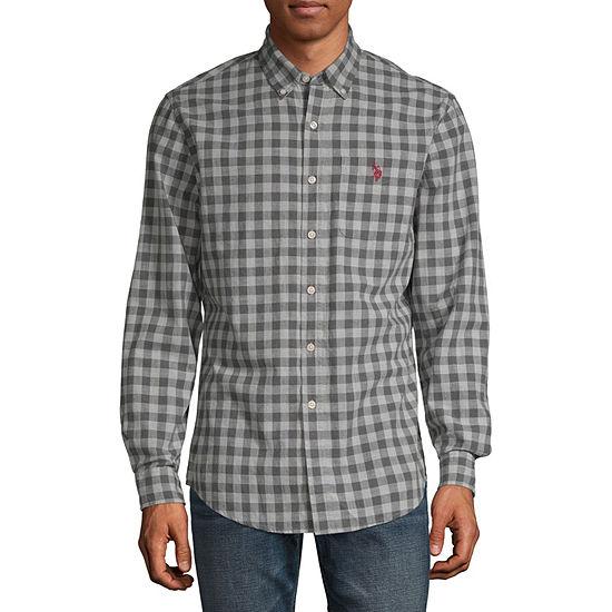 U.S. Polo Assn. Mens Long Sleeve Checked Button-Front Shirt