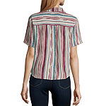 Society And Stitch Womens Short Sleeve Relaxed Fit Button-Front Shirt-Juniors