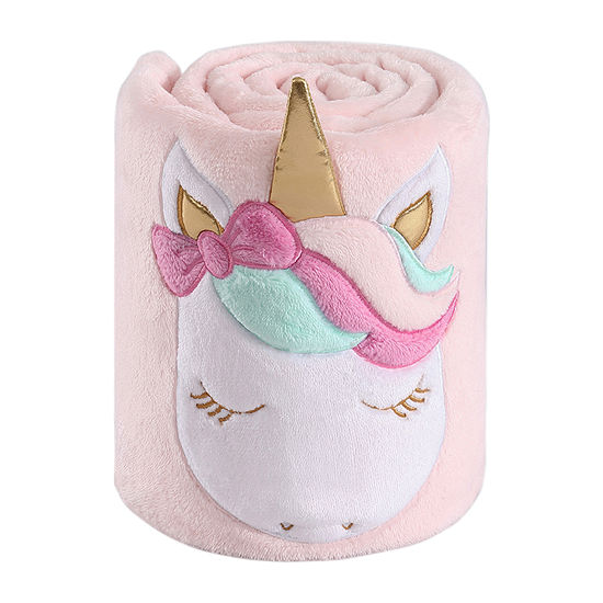 Frank And Lulu Pink Unicorn Plush Roll Up Throw