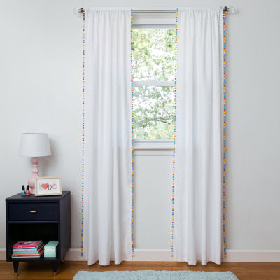 Frank And Lulu Pom Pom Embellished Light-Filtering Rod-Pocket Single Curtain Panel
