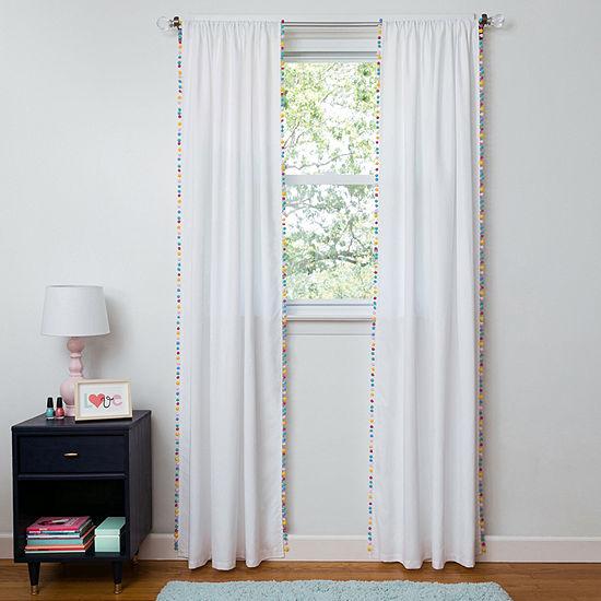 Frank And Lulu Pom Pom Light-Filtering Rod-Pocket Curtain Panel