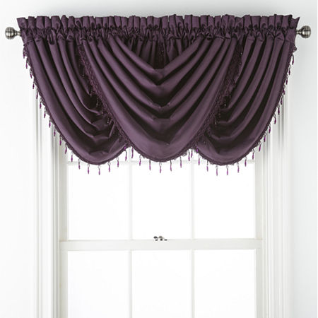 JCPenney Home Malone Rod-Pocket Waterfall Valance, One Size , Purple