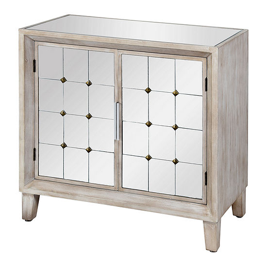 Stylecraft Gray Ash with Mirror Wooden Accent Cabinet