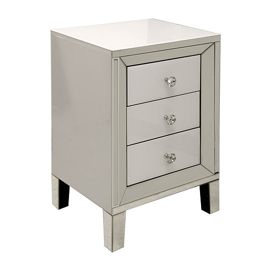 Stylecraft White with Diamond Crystal Pulls Accent Cabinet