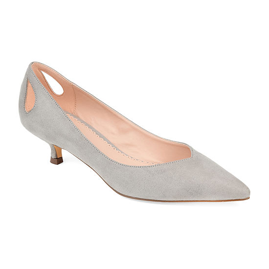 Journee Collection Womens Goldie Pointed Toe Kitten Heel Pumps