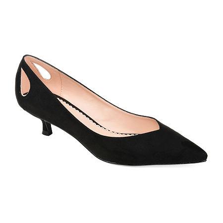 1950s Shoe Styles: Heels, Flats, Sandals, Saddle Shoes Journee Collection Womens Goldie Pointed Toe Kitten Heel Pumps 12 Medium Black $59.99 AT vintagedancer.com
