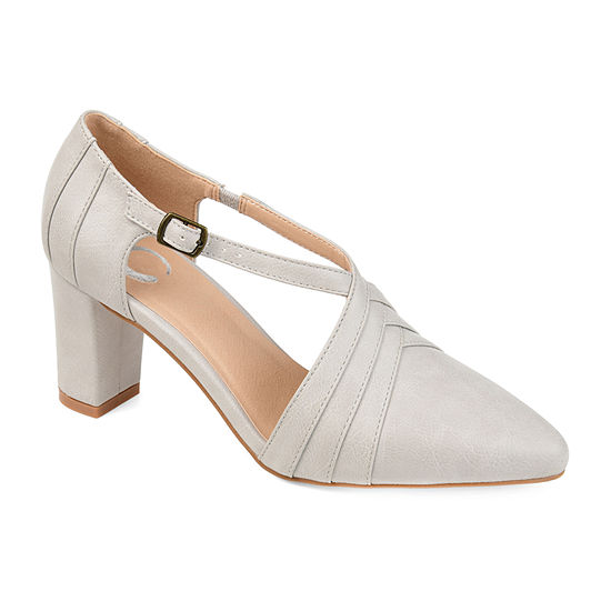 Journee Collection Womens Sandra Pointed Toe Block Heel Pumps