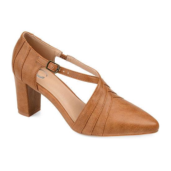 Journee Collection Womens Sandra Pointed Toe Block Heel Pumps