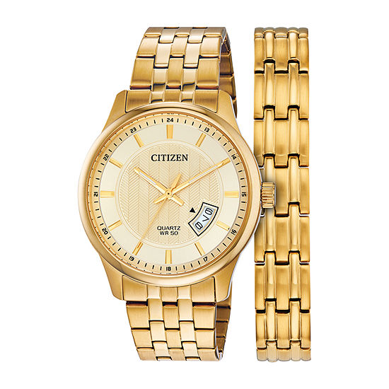 Citizen Mens Gold Tone Stainless Steel 2-pc. Watch Boxed Set-Bi1052-69p