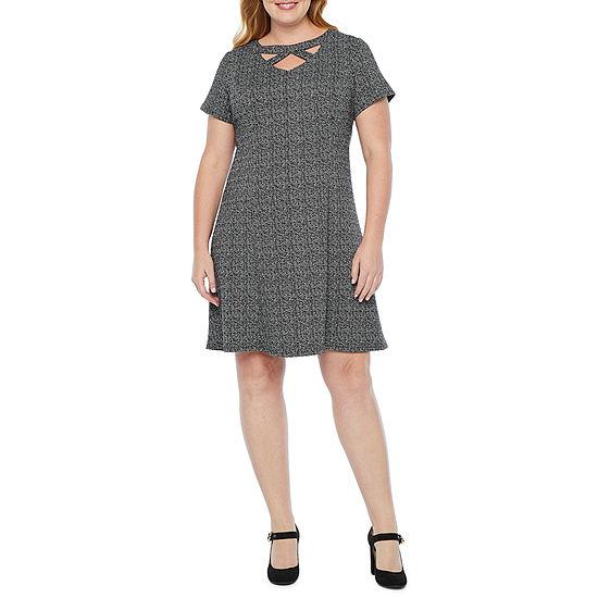 Alyx Short Sleeve Fit & Flare Dress-Plus
