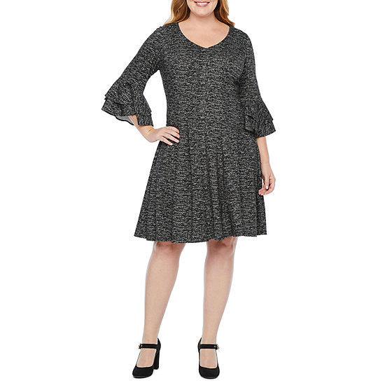Danny & Nicole 3/4 Tiered Bell Sleeve Fit & Flare Dress-Plus