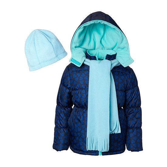 Pink Platinum - Girls Hooded Fleece Lined Heavyweight Puffer Jacket-Toddler