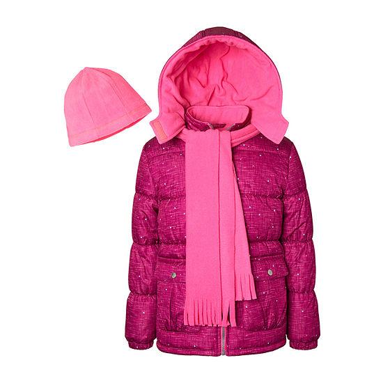 Pink Platinum-Toddler - Girls Hooded Fleece Lined Heavyweight Puffer Jacket
