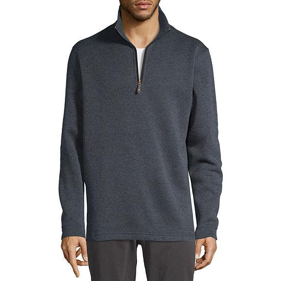 Haggar Mens Mock Neck Long Sleeve Quarter-Zip Pullover
