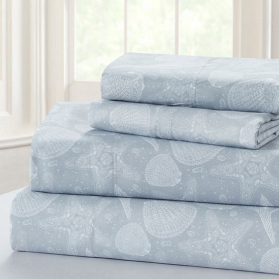 Harper Lane Baja Seashells Microfiber Easy Care Sheet Set