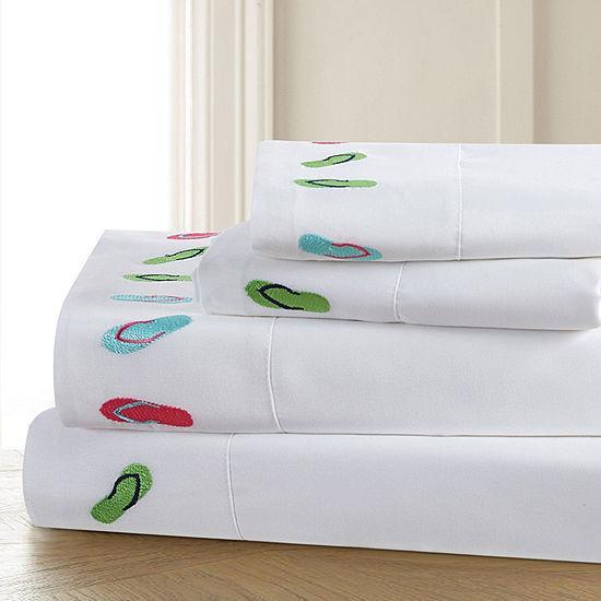 Harper Lane Tropic Malinche Flips Embroidered Microfiber Easy Care Sheet Set