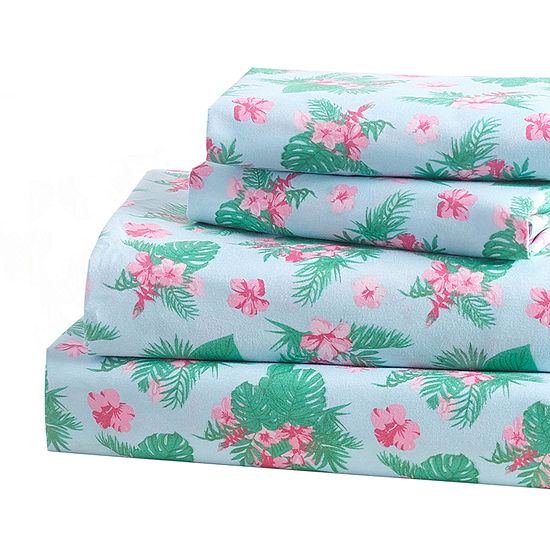 Harper Lane Kaui Tropical Pink Hibiscus Microfiber Easy Care Sheet Set