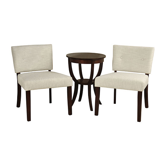 Stylecraft Silk Road Linen Ivory Chair with Table Set of 3