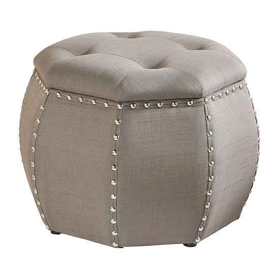 Stylecraft Grey Linen with Silver Nail Heads Ottoman