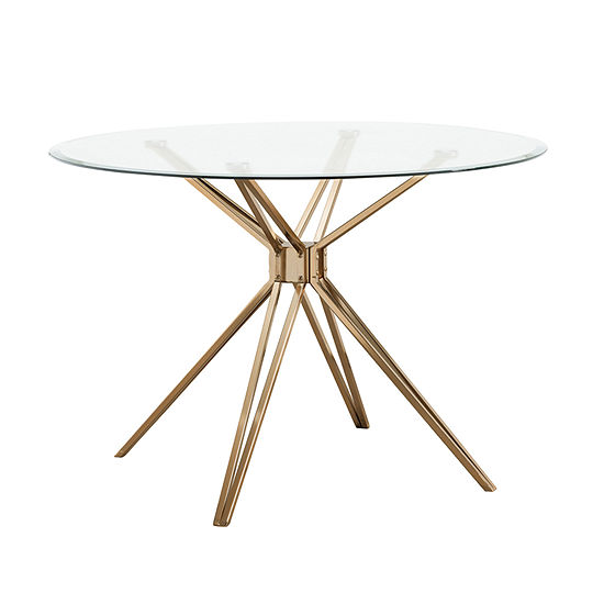 Southern Enterprises Rockmel Table Round Glass-Top Dining Table
