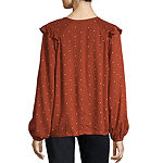 a.n.a Womens Round Neck Long Sleeve Dobby Blouse