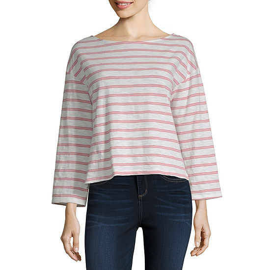 a.n.a-Womens Boat Neck Long Sleeve T-Shirt