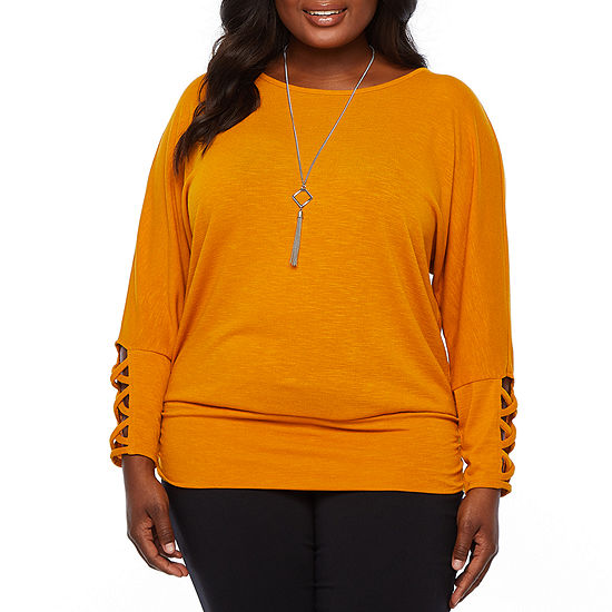 Alyx Long Sleeve Blouse with Necklace - Plus