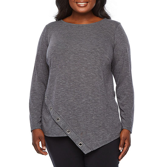 Alyx Womens Round Neck Long Sleeve Knit Blouse-Plus