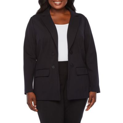 Worthington Womens Classic Fit Ponte Double Breasted Blazer - Plus