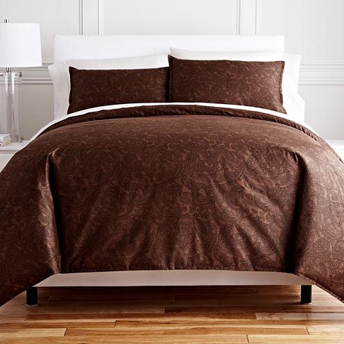 Royal Velvet® Chocolate Paisley 3-pc. Duvet Cover Set