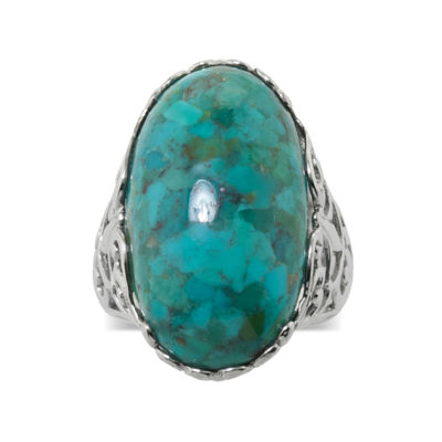 Enhanced Turquoise Sterling Silver Oval Filigree Ring