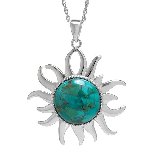 Enhanced Turquoise Filigree Sterling Silver Sun Pendant Necklace