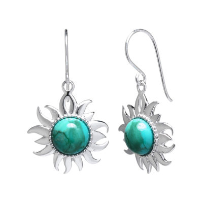 Enhanced Turquoise Filigree Sterling Silver Sun Earrings