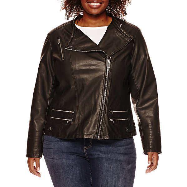 a.n.a® Faux-Leather Zip-Up Moto Jacket - Plus