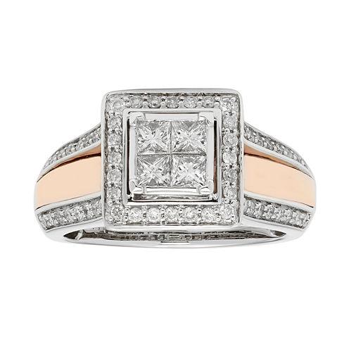 Womens 7/8 CT. T.W. Genuine White Diamond 14K Gold Bridal Set
