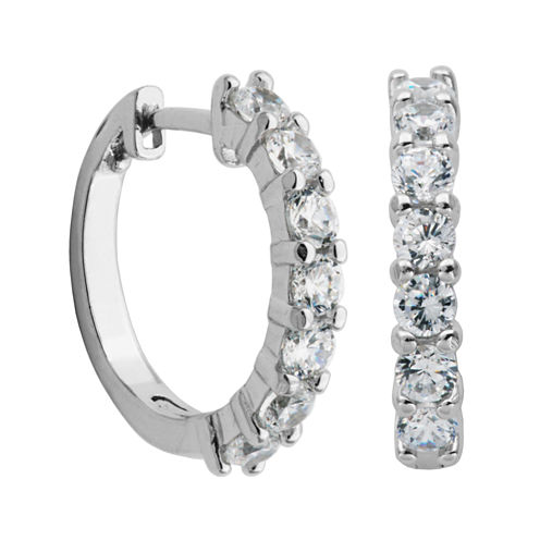 DiamonArt® Sterling Silver CZ Hoop Earrings