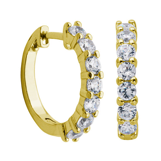 DiamonArt® 18K Yellow Gold over Silver Cubic Zirconia Hoop Earrings