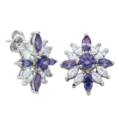 DiamonArt® Sterling Silver Simulated Tanzanite & White Cubic Zirconia Flower Cluster Earrings