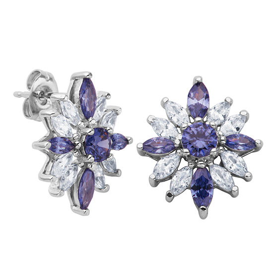 DiamonArt® Sterling Silver Simulated Tanzanite & White Cubic Zirconia Flower Cluster Earrings
