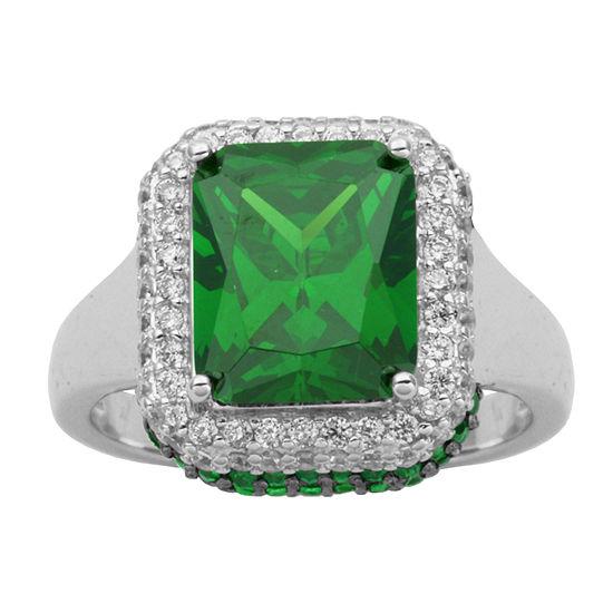 Diamonart Green Cubic Zirconia Sterling Silver Halo Ring