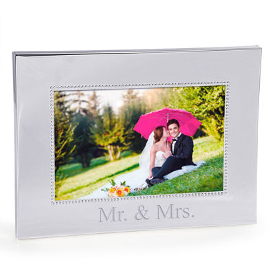 Cathy's Concepts Mr. & Mrs. Beaded Silver Frame