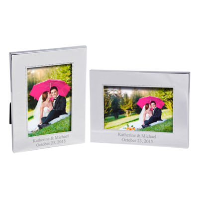 Cathy's Concepts Horizontal Beaded Silver Picture Frame